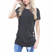 BESSKY Women Short Sleeve Loose Button Trim Blouse Solid color Round Neck Tunic T-Shirt_
