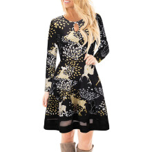 BESSKY Women Christmas Printed Lace Dress Ladies Long Sleeve Mini Dress_