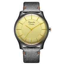 Alexandre Christie AC 8532 MH LIGSL Signature Watch Yellow Dial Silver Leather Strap [ACF-8532-MHLIGSL]