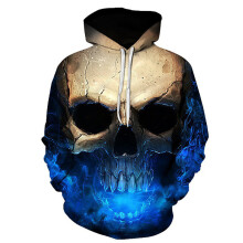 BESSKY Unisex 3D Printed Skull Pullover Long Sleeve Hooded Sweatshirt Tops Blouse_