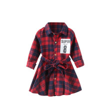 BESSKY  Toddler Baby Girls Long Sleeve Checks Dress Letter Printing Fashion Dress _