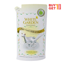 WHITE GARDEN Shower Cream Pure Goat's Milk & Pearl Refill 450ml - Buy 1 Get 1