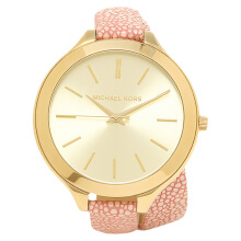 Michael Kors Slim Runaway Gold Dial Pink Leather Strap Watch [MK2476]
