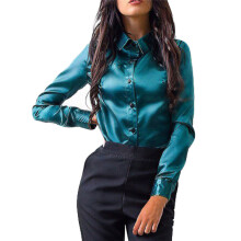 BESSKY Women Button Fashion Casual Tops Long Sleeve Shirt Blouse_