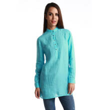 Fredperry Women Extra Long Button Down Shirt in Turquoise - M Size