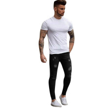 BESSKY Men's Stretchy Ripped Skinny Biker Jeans Destroyed Taped Slim Fit Denim Pants_