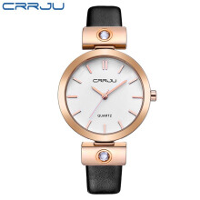 CRRJU Brand Luxury High quality Simple Quartz Leather Bracelet Fashion Women Watch Ladies Rose gold Wristwatch relojes mujer