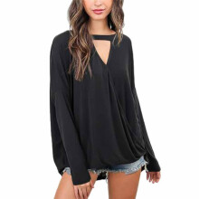 BESSKY Women Choker Neck V Neck Loose Casual Long Sleeve Tops Blouse Shirt _