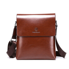 Wei's Men's Leather Handy Bags Purses and Famous Brand Business and Casual fdk9012-Brown