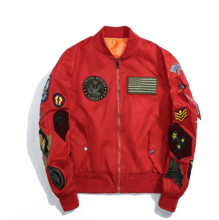 Ins V-378 Trendy brand new Simple Design Pilot baseball jacket-Red