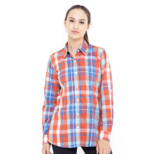 Mobile Power Ladies Long Shirt Plaid - Orange Blue MPL280