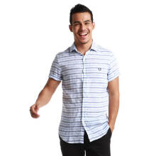 Fredperry Men- White Short Sleeve Shirt wt Horizontal Stripes XXL