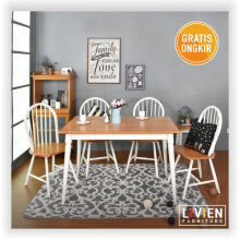 Meja Makan Set 4 Bangku Maple Story - Meja - Kursi - LIVIEN FURNITURE