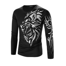 BESSKY  Men Fashion Printing Men's Long-sleeved T-shirt  _