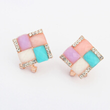 Cubic Colorful Metal Stud Earring