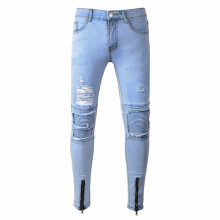 BESSKY Mens Ripped Slim Fit Motorcycle Vintage Denim Jeans Hiphop Streetwear Pants_