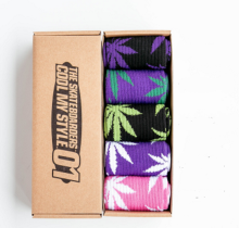 Cool My style CS-5 California skate city Maple leaf socks(about 19cm) five pairs in one set-five colors