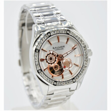 Balmer Shappire Crystal Stainless Steel Chain Ladies 7981LRB-2180D37SLHT Small Second Silver Hitam Silver
