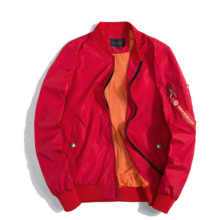 Ins V-365 Trendy brand new Simple Design Pilot baseball jacket-Red