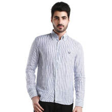 Fredperry Men- White Long Sleeve Shirt wt Variety Of Blue Stripes L