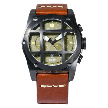 Expedition EXF-6692-MCLIPBA Man Chronograph Green Dial Brown Leather Strap [EXF-6692-MCLIPBA]