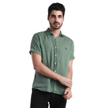 Authentic Fred Perry Men- Green Short Sleeve Shirt wt Navy Laurel L