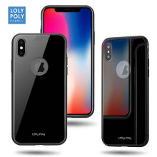 LOLYPOLY TEMPERED GLASS SHOCKPROOF BACK COVER CASE IPHONE IPHONE X