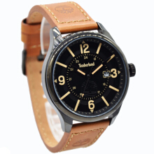 Timberland Leather Strap Mens 14645JSB-02-1248D45CKTHTM Analog Date Coklat Hitam Brown