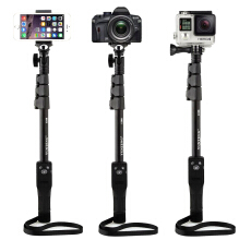 YT-1288 Extendable Bluetooth Remote Control Mirror Selfie Stick Monopod for Cell Phone Gopro Camera Black