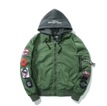 Ins V-401HP Trendy brand new Simple Design Pilot baseball jacket with Hood&Plus Cotton-Light Green
