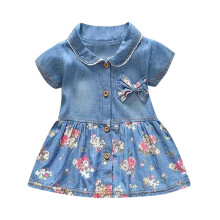 BESSKY Toddler Baby Girls Floral Print Bowknot Short Sleeve Princess Denim Dress Outfit_