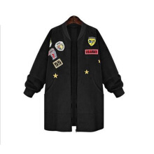 Autumn Womens Bomber Jecket Plus Size 3D Print Zipper Patched Badges Long Baseball Outwear Coats XXL Black