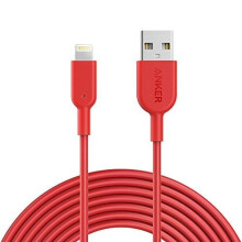 [free ongkir]Anker Kabel PowerLine II 10ft/3m Lightning iPhone Merah - A8434