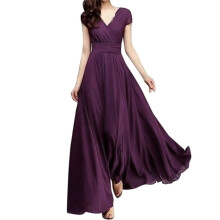 BESSKY Fashion Women Casual Solid Chiffon V-Neck Evening Party Long Dress_
