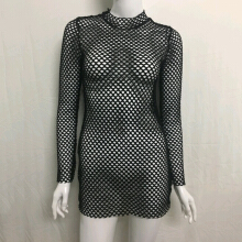 Fashionmall Women Sexy Fishnet Dress Long Sleeve Party Beach Lingerie