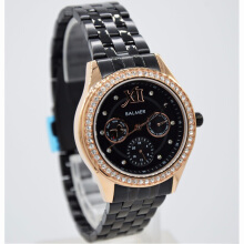Balmer  Stainless Steel Chain Ladies B.7973LBR-660D35HTRG Multi Fungsi Hitam Rosegold Black