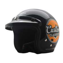 CARGLOSS CF Retro Army Retro Helm Half Face - Custom Classic Deep Black