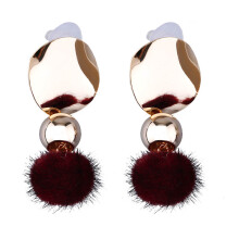 VOITTO Fashion Jewelry Vonly Plaque Pompom V26 Earrings [Red]
