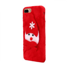 BESSKY ChristmasLuxury Winter Soft Plush Warm Cute Case Cover For iPhone 7 Plus 5.5inch_ Red