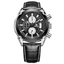 MEGIR  ML2020G Chronograph Casual Watch Men Quartz Military Sport Watch Genuine Leather
