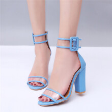 BESSKY Womens Ladies Block High Heel Sandals Ankle Platforms Shoes Buckle High Heels_