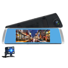 Vfocs 7-Inch Touch Screen Dual Lens Mobil Kamera Rearview Camcorder Car Dvr FHD 1080P Dash Cam Video Recorder Black