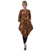 SHE BATIK Dress Batik Tulis Asimetris - Gold