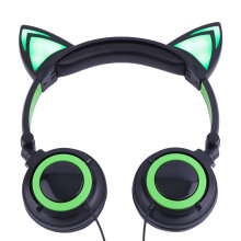 Cat's Ears Headphones Folding Laptop Computer Earphone With LED Light Headset multicolor