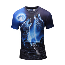SESIBI 3D T Shirts Men's Summer Printing Tees -The Wolf In The Night -