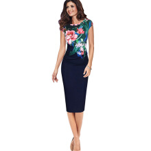 Fashionmall Floral Flower Printed Retro Ruched Pinup Casual Party Sheath Special Dress