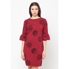 FBW Sonia Flutted Sleeves Batik Piring Dress - Merah