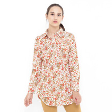 Mobile Power Ladies Floral Printing Tunic Long Sleeve - Orange D8375
