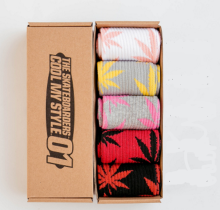 Cool My style CS-7 California skate city Maple leaf socks(about 19cm) five pairs in one set-five colors