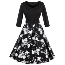 Fashionmall 1338 Zaful Fashion vintage floral printing dress women retro style v-neck